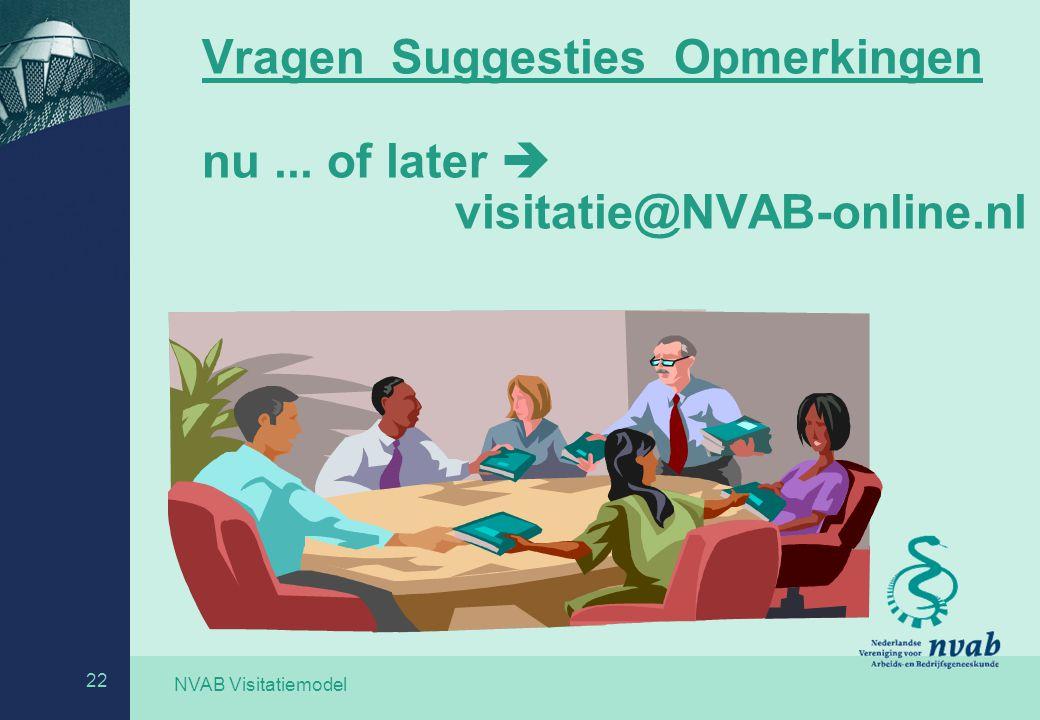 Vragen Suggesties Opmerkingen nu ... of later  visitatie@NVAB-online.nl