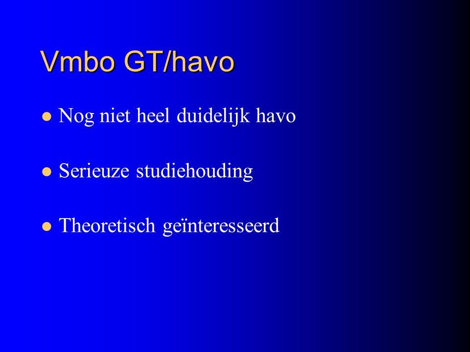 Vmbo GT/havo Nog niet heel duidelijk havo Serieuze studiehouding