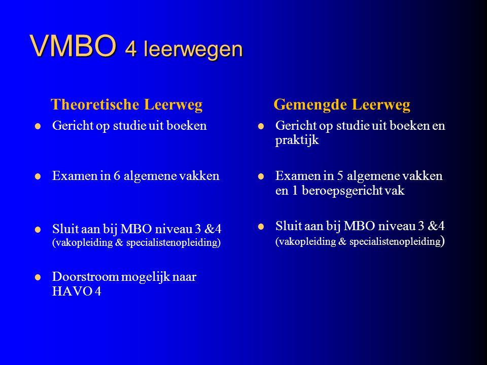 VMBO 4 leerwegen Theoretische Leerweg Gemengde Leerweg