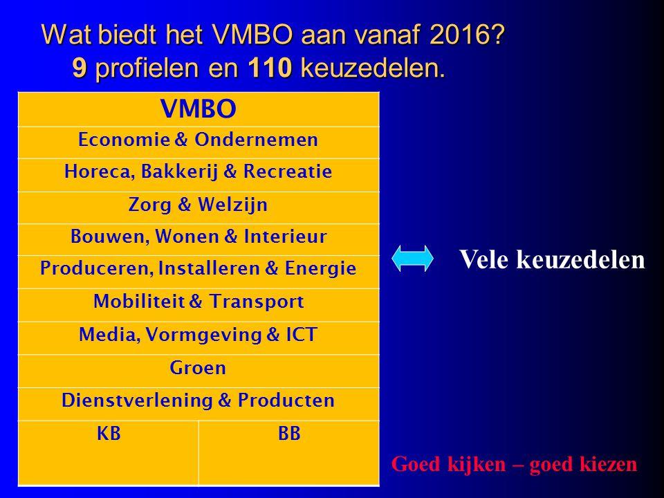 Wat biedt het VMBO aan vanaf 2016 9 profielen en 110 keuzedelen.