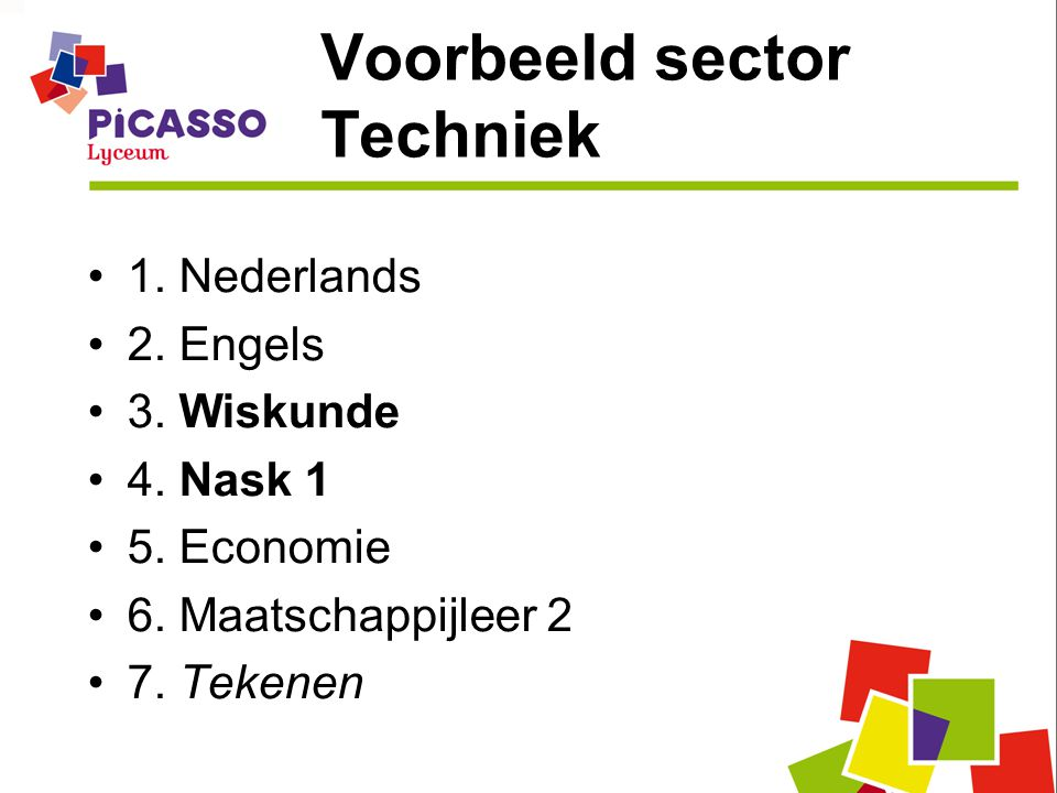 Voorbeeld sector Techniek