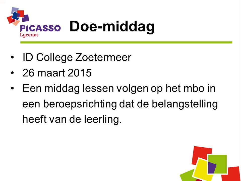 Doe-middag ID College Zoetermeer 26 maart 2015