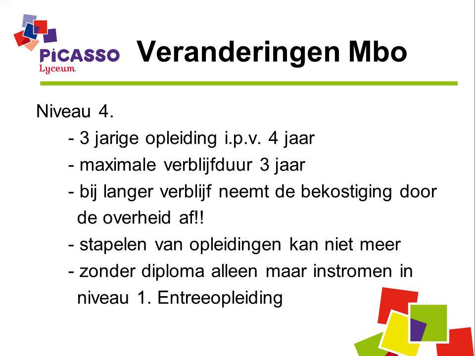 Veranderingen Mbo Niveau 4. - 3 jarige opleiding i.p.v. 4 jaar