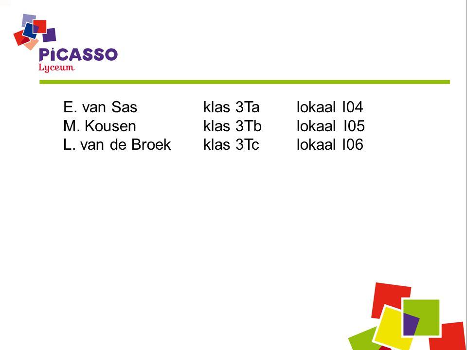 E. van Sas klas 3Ta lokaal I04