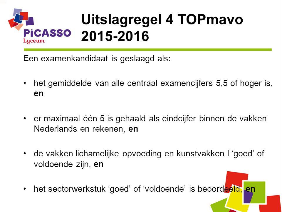 Uitslagregel 4 TOPmavo 2015-2016 Een examenkandidaat is geslaagd als: