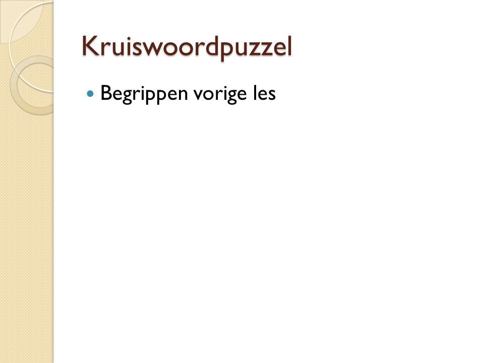 Kruiswoordpuzzel Begrippen vorige les