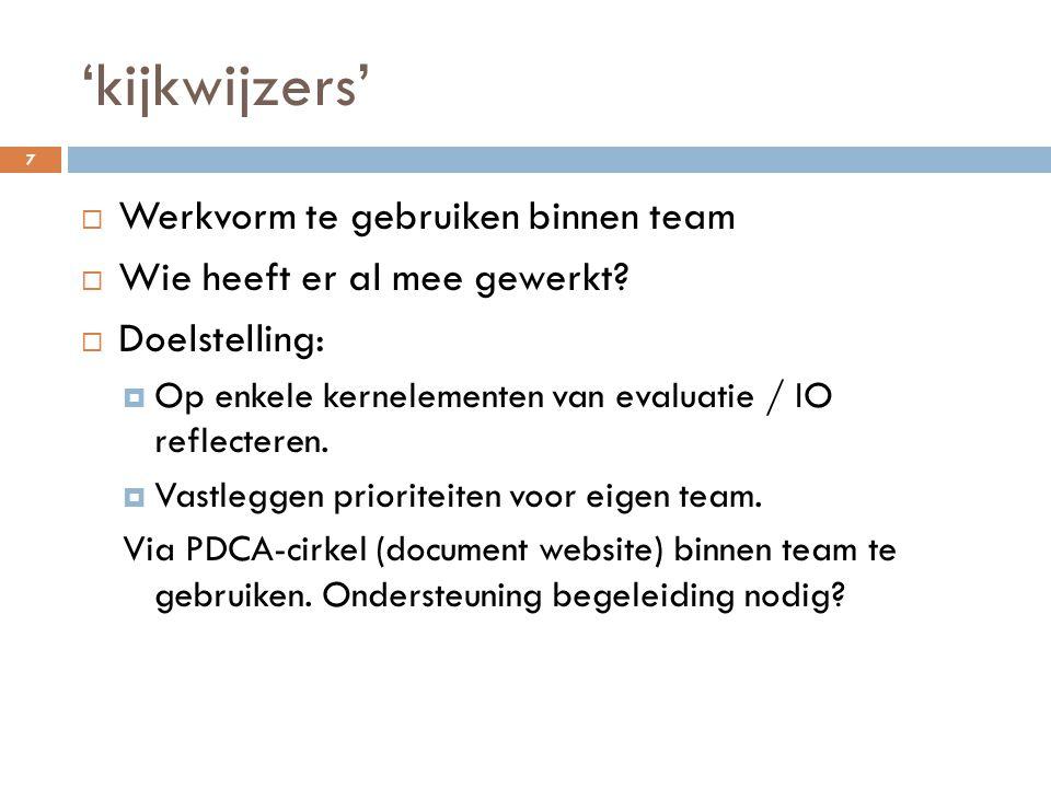 'kijkwijzers' Werkvorm te gebruiken binnen team