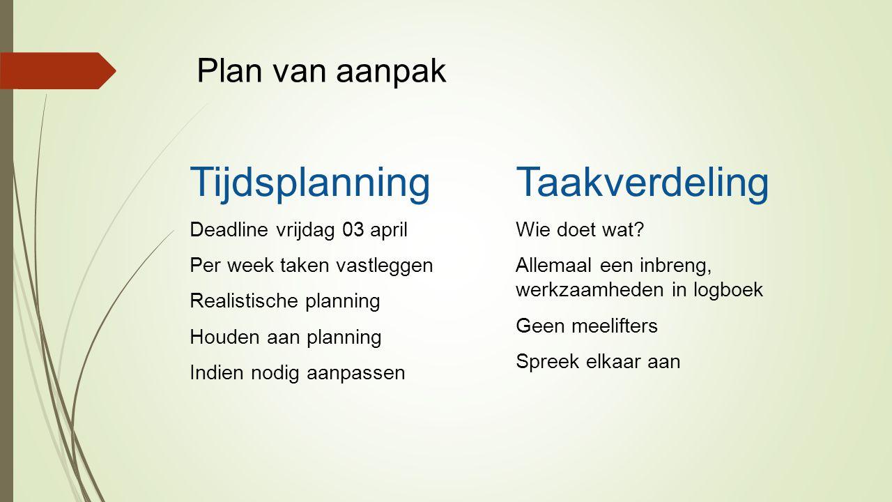 Tijdsplanning Taakverdeling Plan van aanpak Deadline vrijdag 03 april