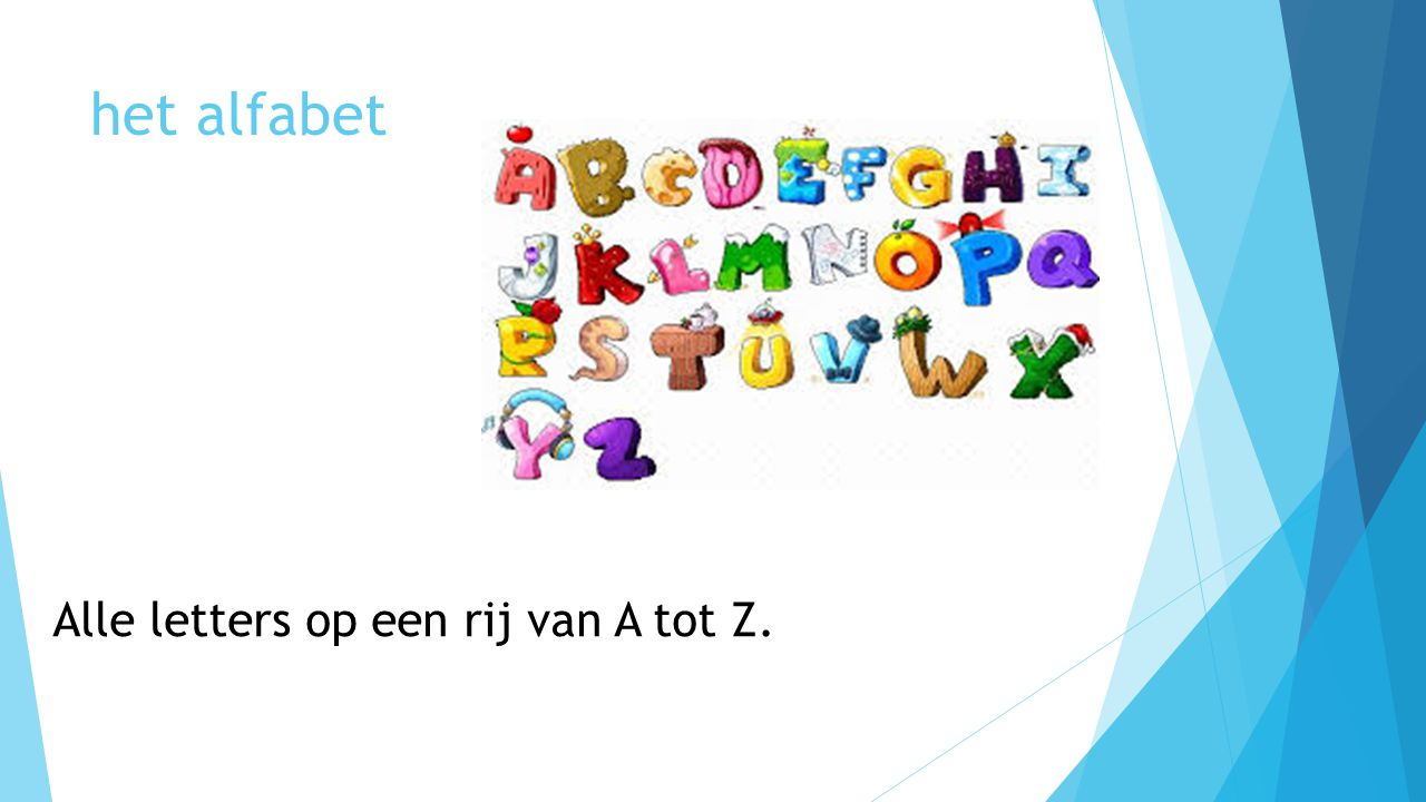 het alfabet Alle letters op een rij van A tot Z.