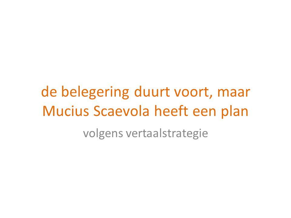 de belegering duurt voort, maar Mucius Scaevola heeft een plan
