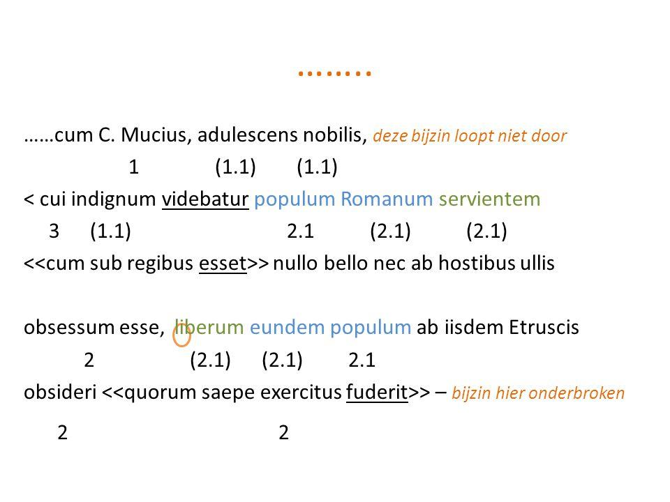…….. ……cum C. Mucius, adulescens nobilis, deze bijzin loopt niet door. 1 (1.1) (1.1)