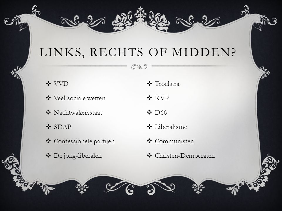 Links, rechts of midden VVD Veel sociale wetten Nachtwakersstaat SDAP