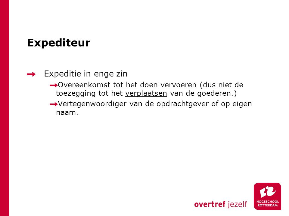 Expediteur Expeditie in enge zin