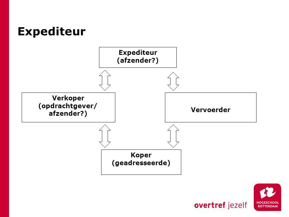Expediteur Expediteur (afzender ) Verkoper (opdrachtgever/ Vervoerder