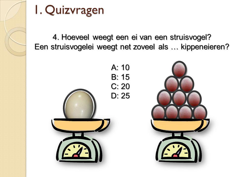 1. Quizvragen 4. Hoeveel weegt een ei van een struisvogel