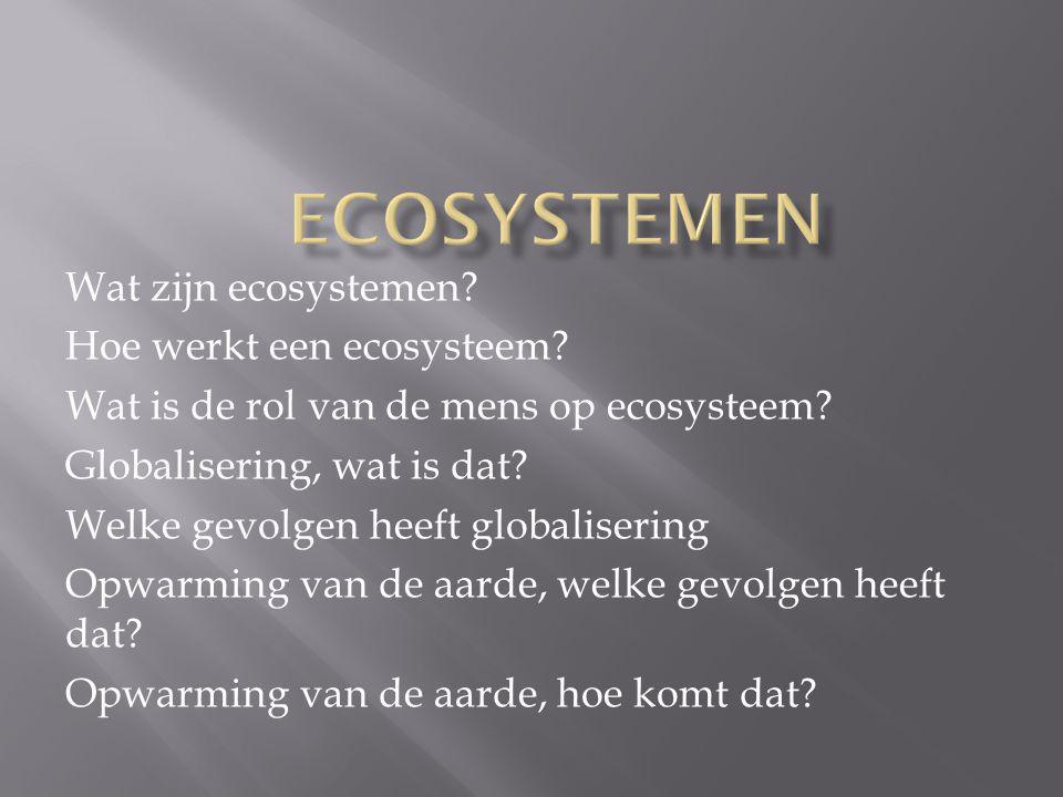 Ecosystemen Wat zijn ecosystemen Hoe werkt een ecosysteem
