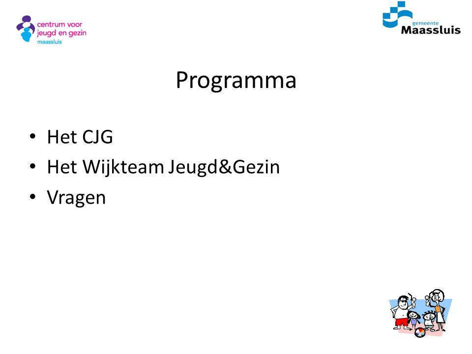 Programma Het CJG Het Wijkteam Jeugd&Gezin Vragen Voorstellen
