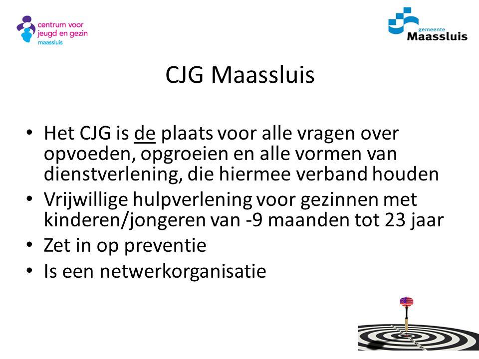 CJG Maassluis Het CJG is de plaats voor alle vragen over opvoeden, opgroeien en alle vormen van dienstverlening, die hiermee verband houden.