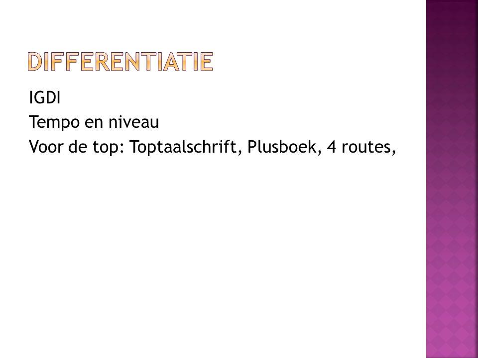 differentiatie IGDI Tempo en niveau Voor de top: Toptaalschrift, Plusboek, 4 routes,