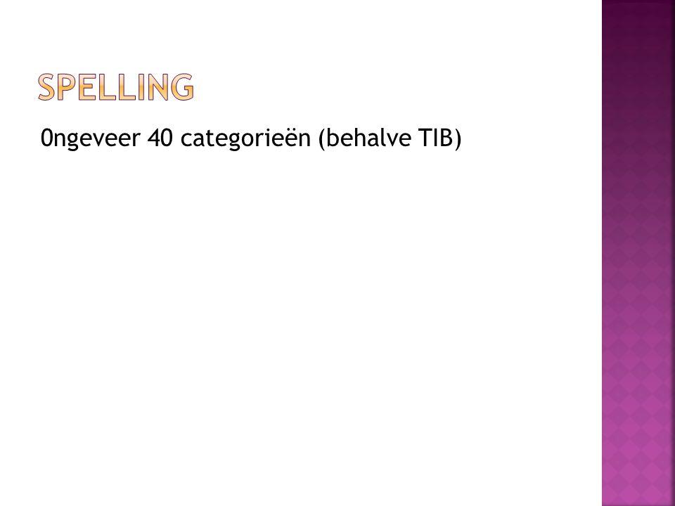Spelling 0ngeveer 40 categorieën (behalve TIB)