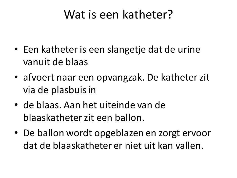 Wat is een katheter Een katheter is een slangetje dat de urine vanuit de blaas. afvoert naar een opvangzak. De katheter zit via de plasbuis in.