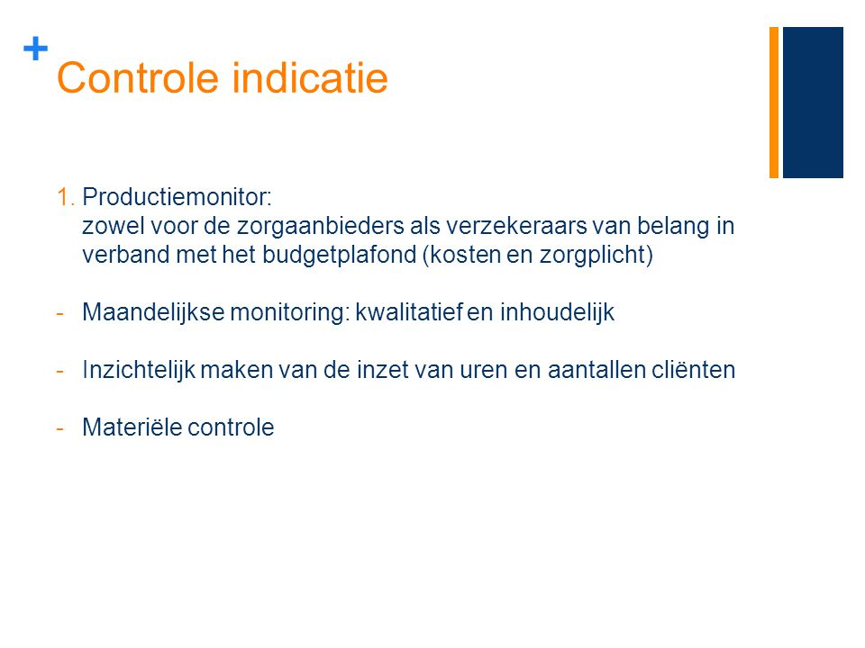 Controle indicatie Productiemonitor: