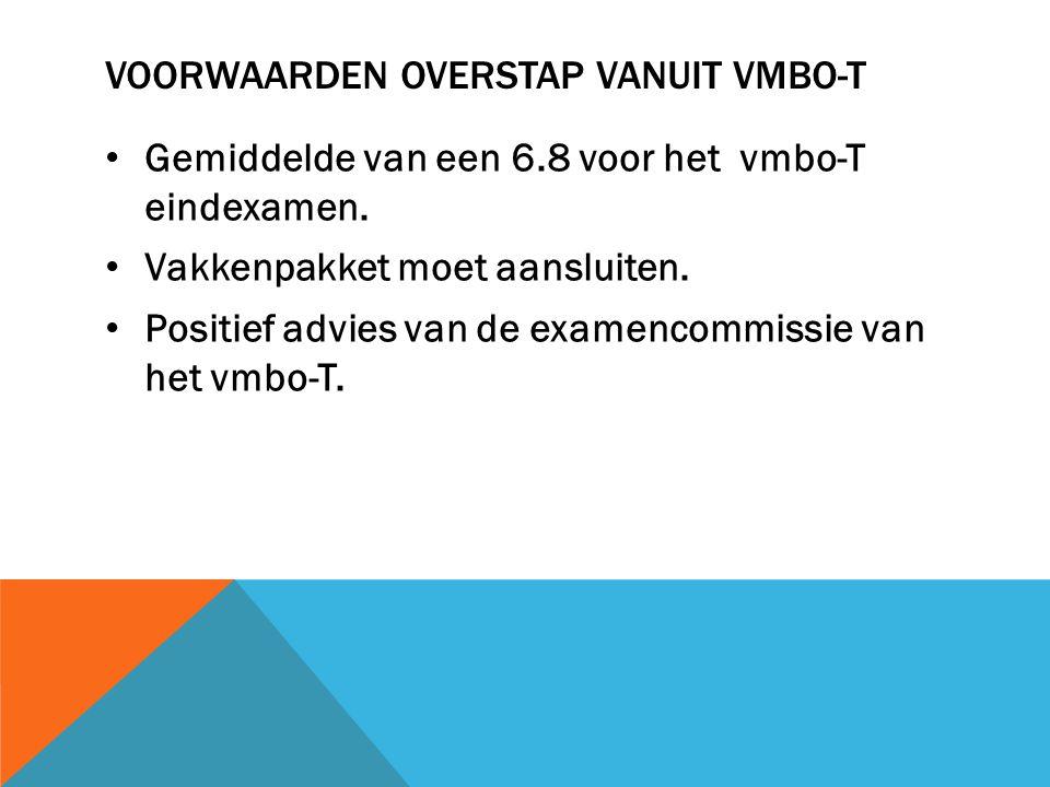 VOORWAARDEN OVERSTAP VANUIT VMBO-T