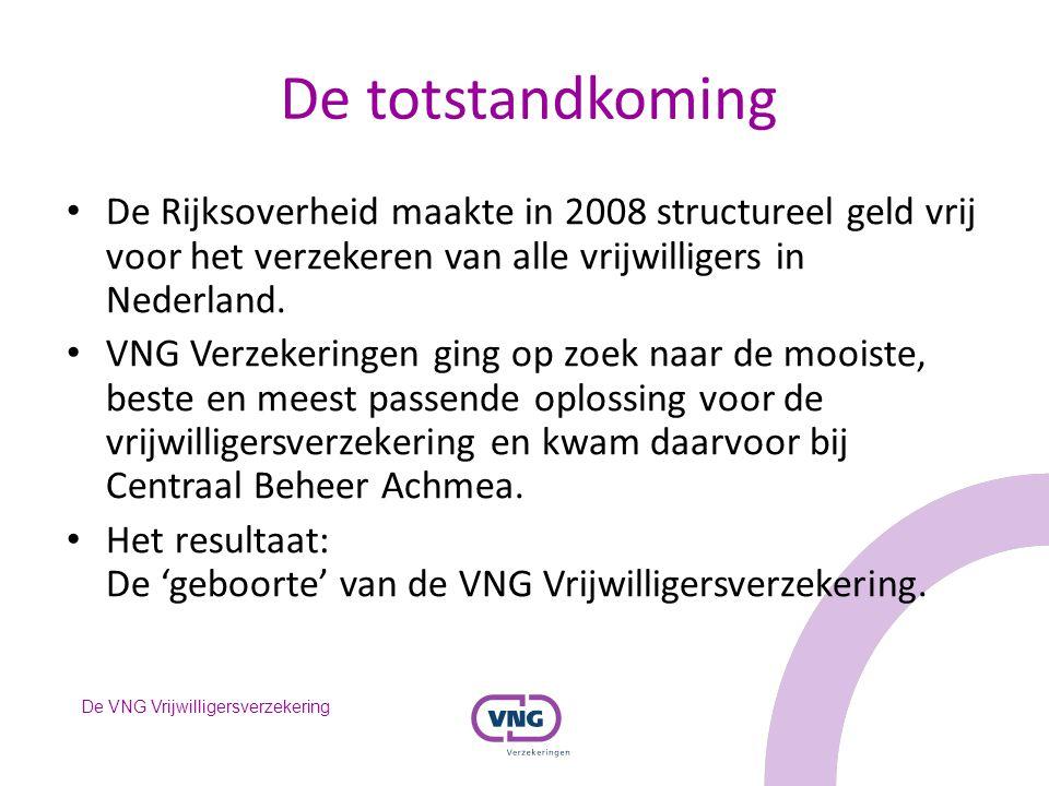 De totstandkoming De Rijksoverheid maakte in 2008 structureel geld vrij voor het verzekeren van alle vrijwilligers in Nederland.