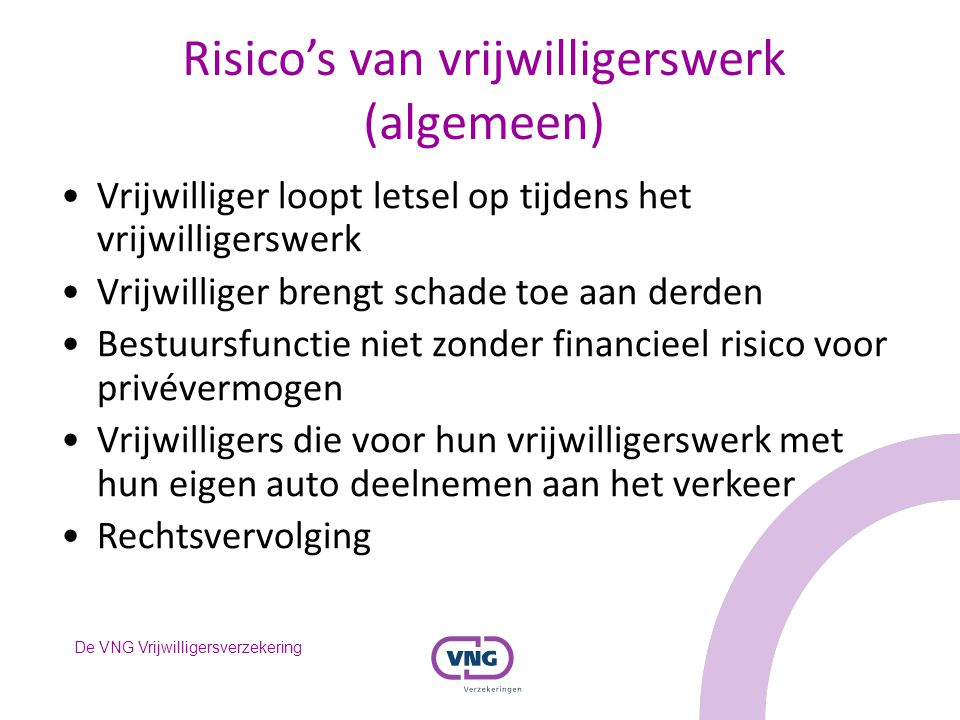 Risico's van vrijwilligerswerk (algemeen)