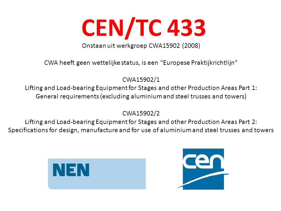 CEN/TC 433 Onstaan uit werkgroep CWA15902 (2008)