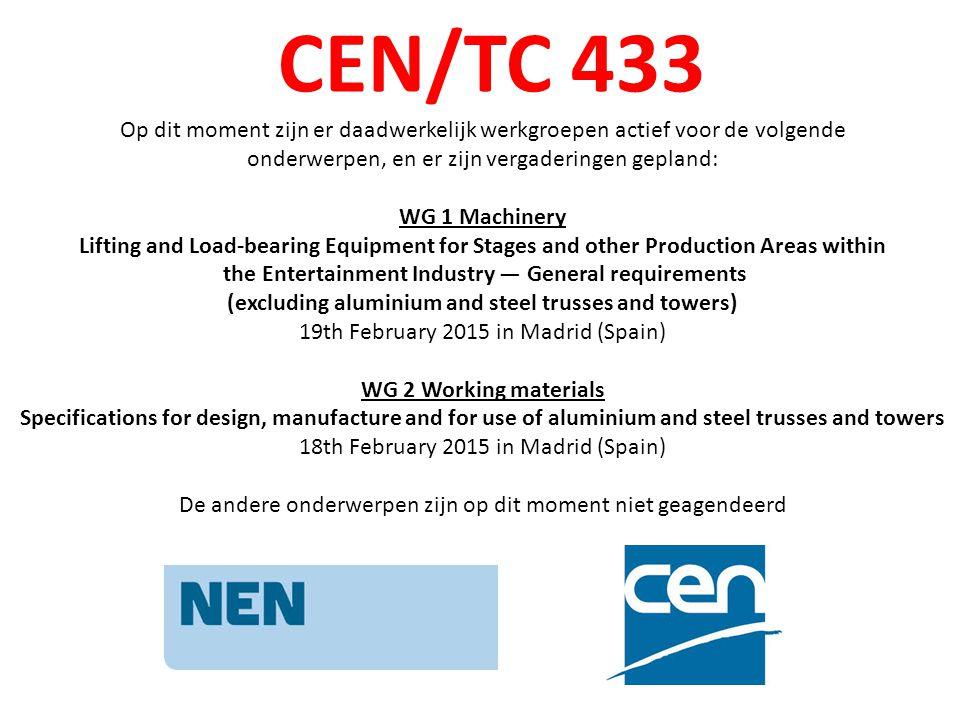 CEN/TC 433 Op dit moment zijn er daadwerkelijk werkgroepen actief voor de volgende. onderwerpen, en er zijn vergaderingen gepland: