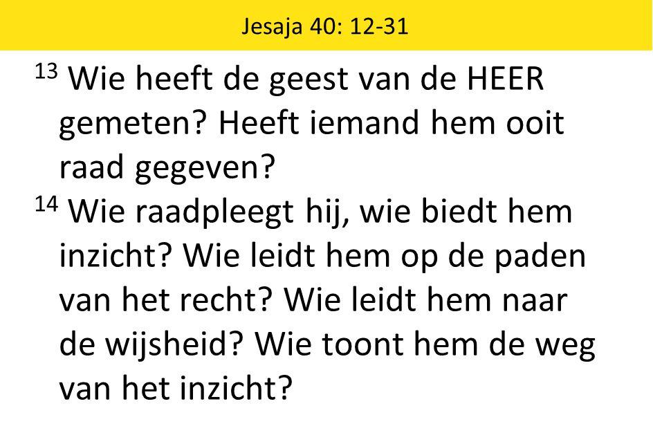 Jesaja 40: 12-31 13 Wie heeft de geest van de HEER gemeten Heeft iemand hem ooit raad gegeven