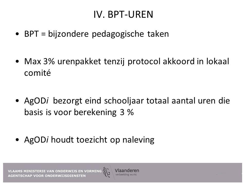 IV. BPT-UREN BPT = bijzondere pedagogische taken