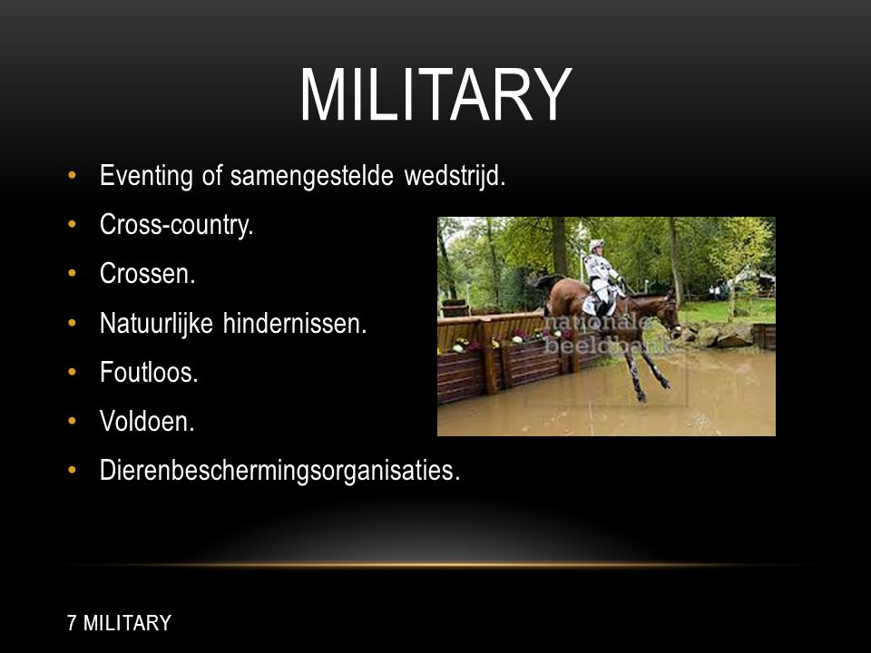 Military Eventing of samengestelde wedstrijd. Cross-country. Crossen.