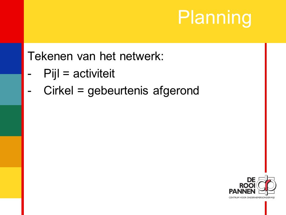 Planning Tekenen van het netwerk: Pijl = activiteit