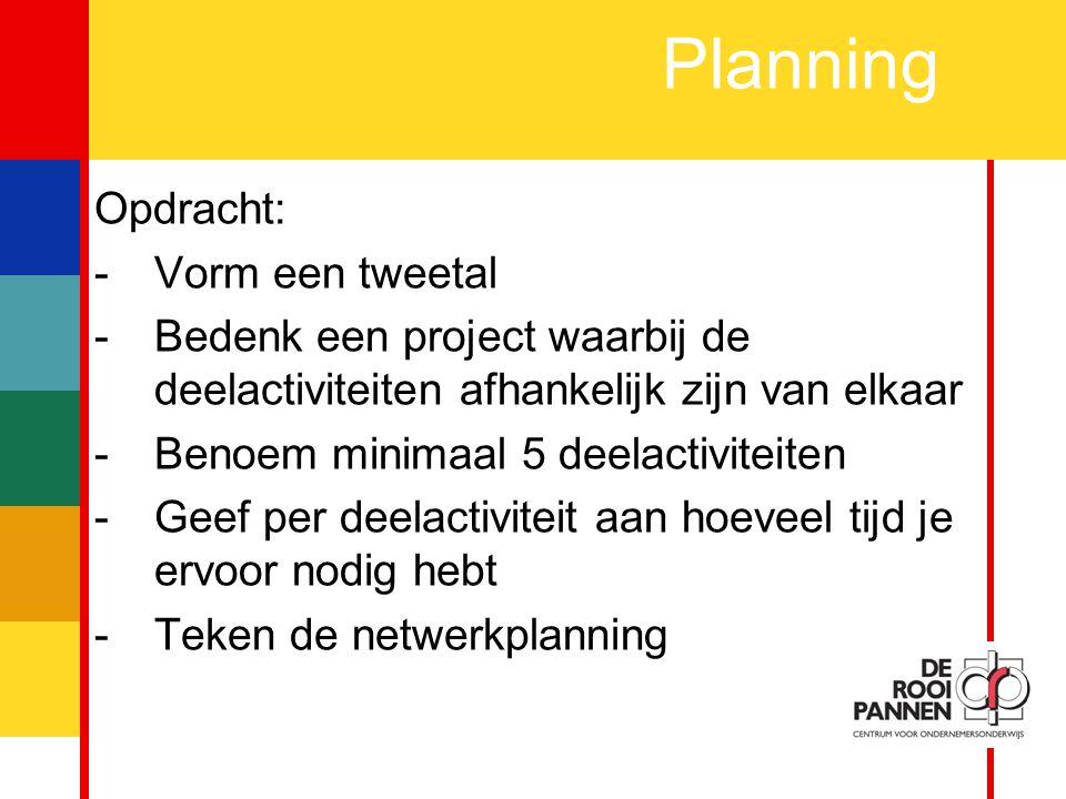 Planning Opdracht: Vorm een tweetal