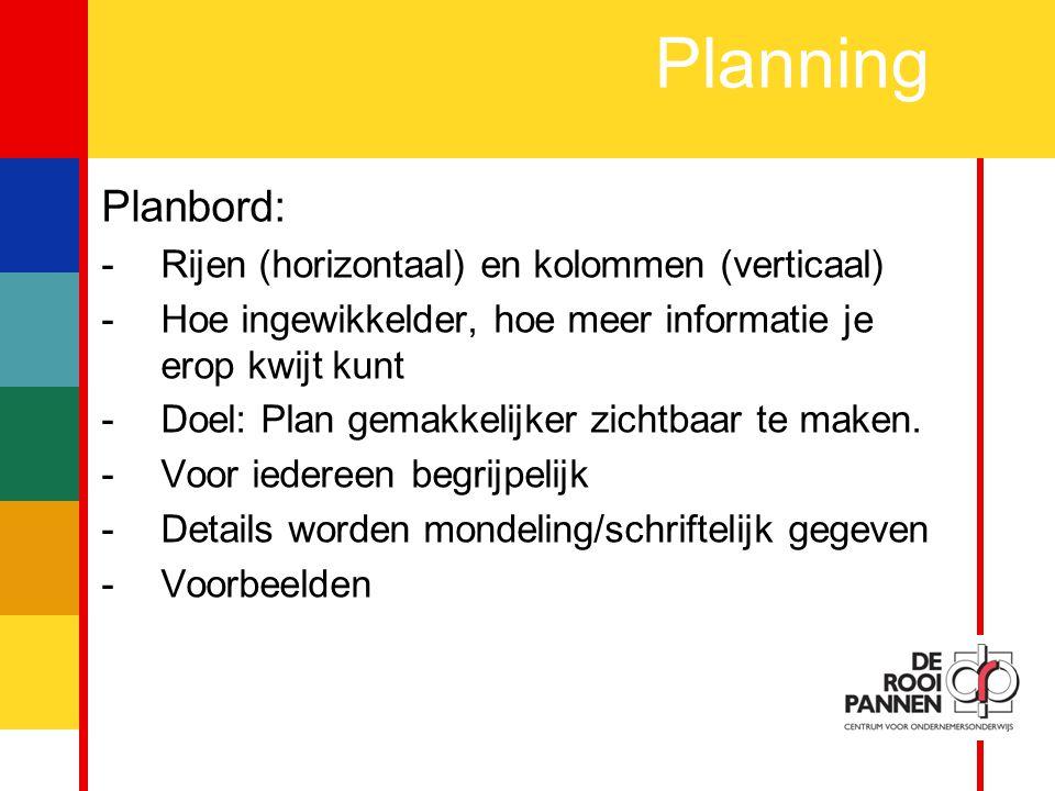 Planning Planbord: Rijen (horizontaal) en kolommen (verticaal)