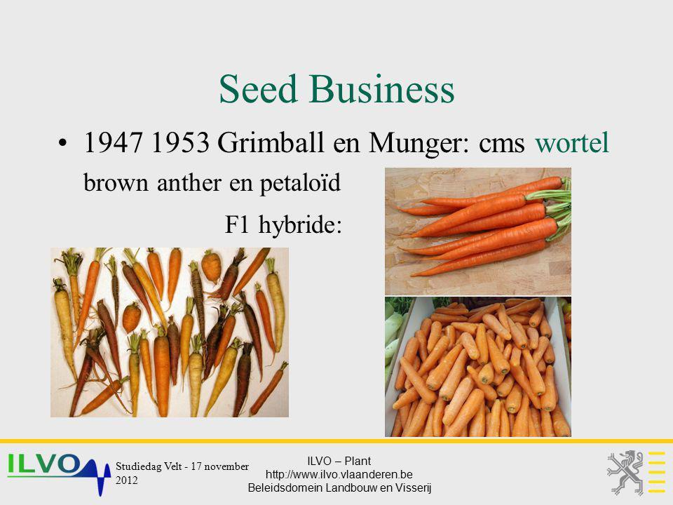 Seed Business 1947 1953 Grimball en Munger: cms wortel F1 hybride: