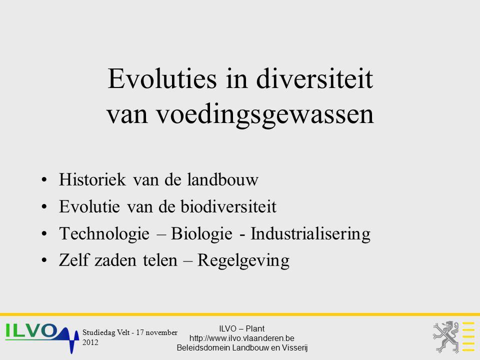 Evoluties in diversiteit van voedingsgewassen
