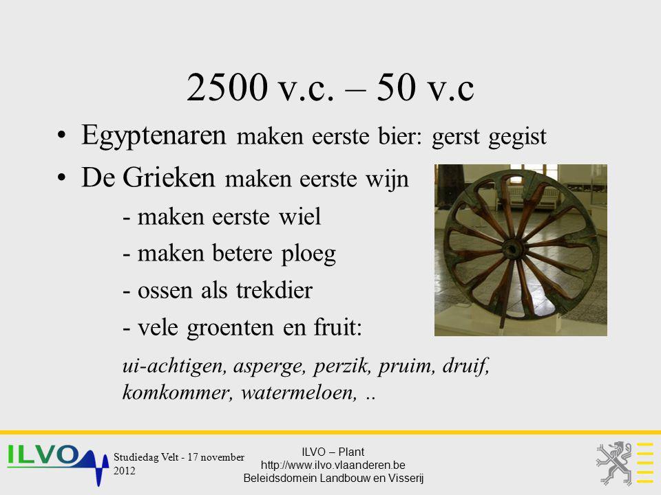 2500 v.c. – 50 v.c Egyptenaren maken eerste bier: gerst gegist