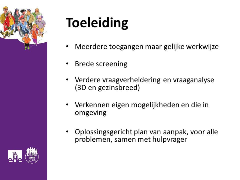 Toeleiding Meerdere toegangen maar gelijke werkwijze Brede screening