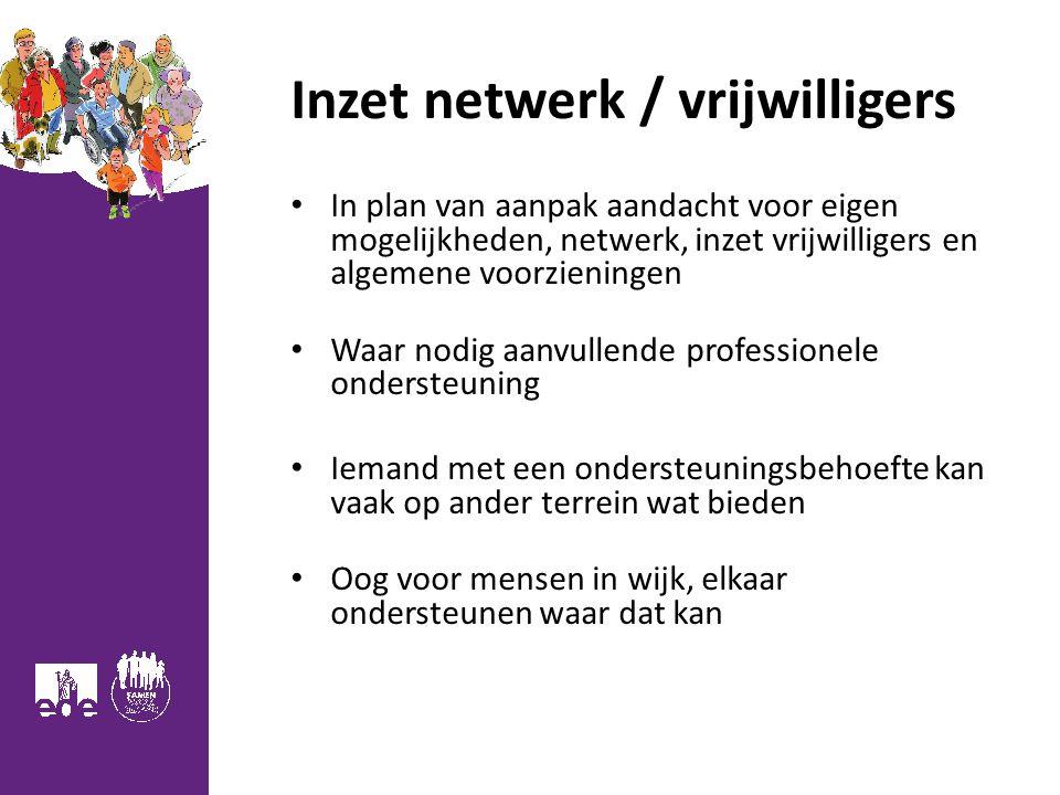 Inzet netwerk / vrijwilligers