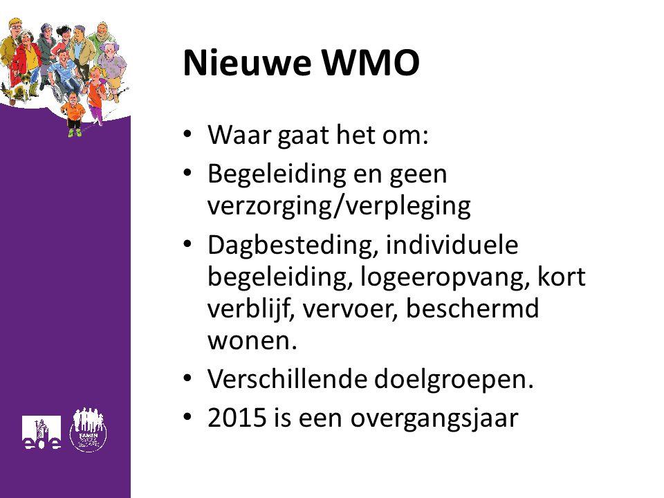 Nieuwe WMO Waar gaat het om: Begeleiding en geen verzorging/verpleging