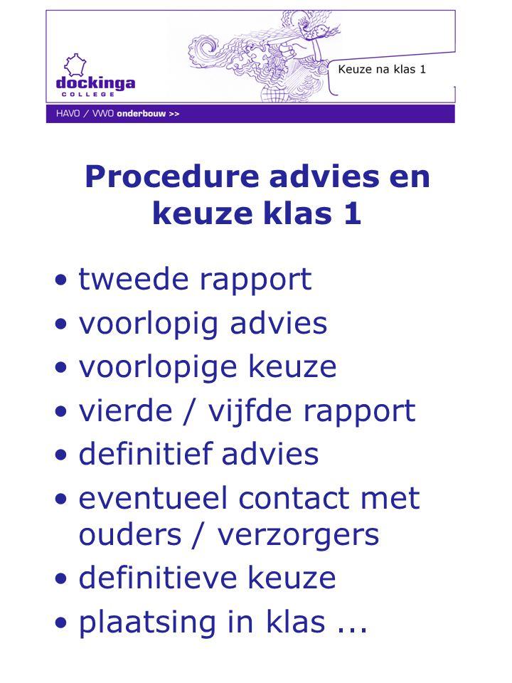 Procedure advies en keuze klas 1
