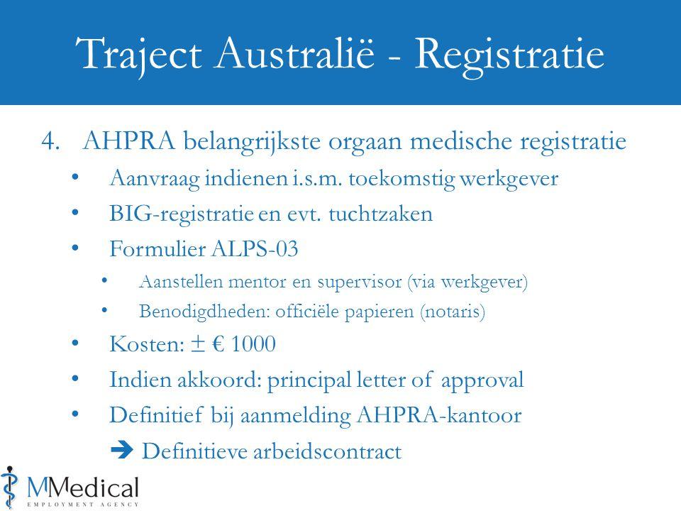 Traject Australië - Registratie