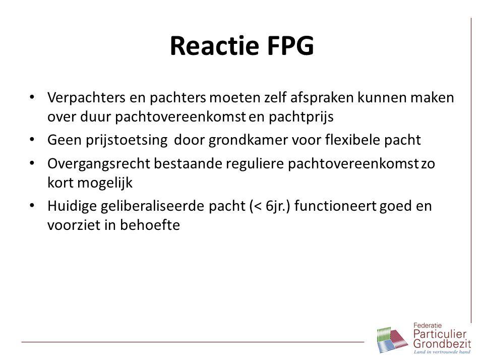Reactie FPG Verpachters en pachters moeten zelf afspraken kunnen maken over duur pachtovereenkomst en pachtprijs.