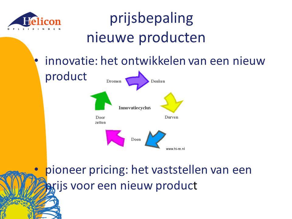 prijsbepaling nieuwe producten