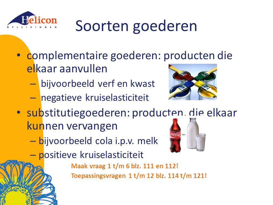 Soorten goederen complementaire goederen: producten die elkaar aanvullen. bijvoorbeeld verf en kwast.