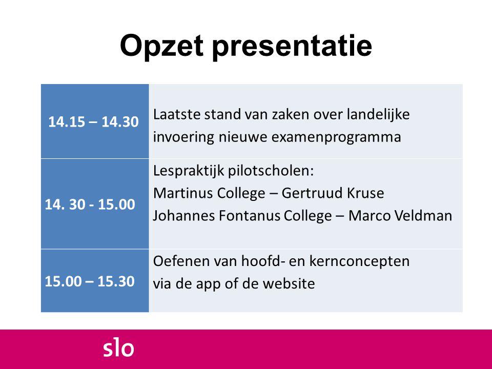 Opzet presentatie 14.15 – 14.30. Laatste stand van zaken over landelijke invoering nieuwe examenprogramma.