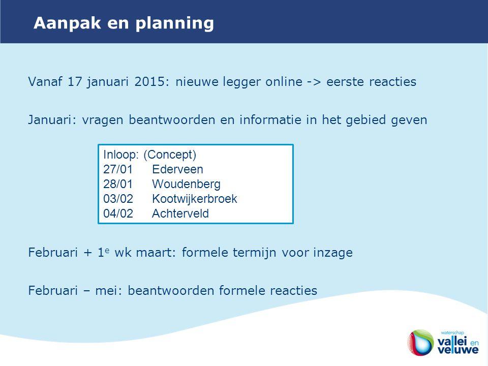 Aanpak en planning Vanaf 17 januari 2015: nieuwe legger online -> eerste reacties. Januari: vragen beantwoorden en informatie in het gebied geven.